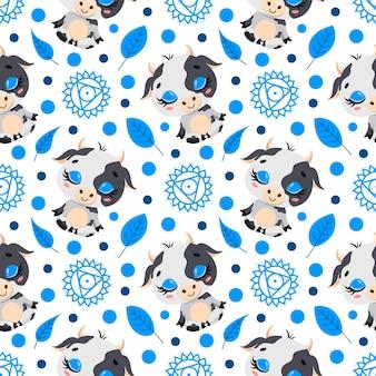 かわいい漫画の農場の動物瞑想のシームレスなパターン。ヨガの動物柄。牛はパターンを瞑想します。