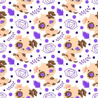 かわいい漫画の農場の動物瞑想のシームレスなパターン。ヨガの動物柄。犬はパターンを瞑想します。