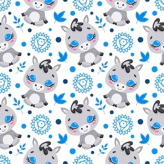 かわいい漫画の農場の動物瞑想のシームレスなパターン。ヨガの動物柄。ロバはパターンを瞑想します。