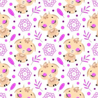 かわいい漫画の農場の動物瞑想のシームレスなパターン。ヨガの動物柄。ヤギはパターンを瞑想します。