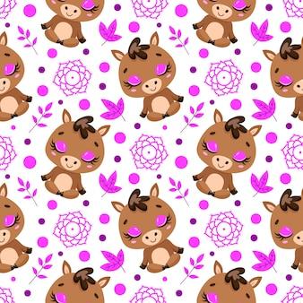 かわいい漫画の農場の動物瞑想のシームレスなパターン。ヨガの動物柄。馬はパターンを瞑想します。