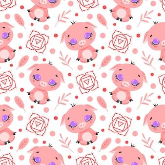 かわいい漫画の農場の動物瞑想のシームレスなパターン。ヨガの動物柄。豚はパターンを瞑想します。