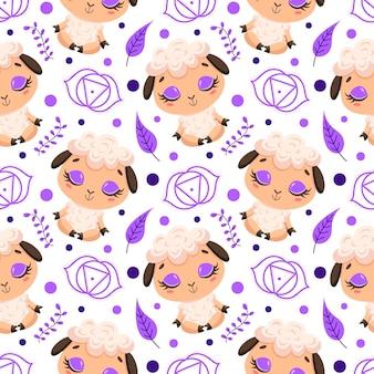 かわいい漫画の農場の動物瞑想のシームレスなパターン。ヨガの動物柄。羊はパターンを瞑想します。