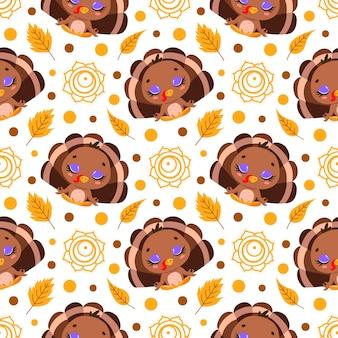 かわいい漫画の農場の動物瞑想のシームレスなパターン。ヨガの動物柄。トルコはパターンを瞑想します。