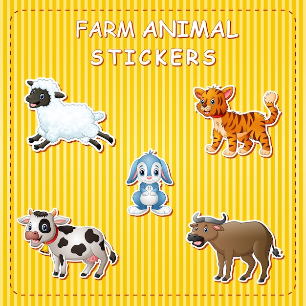 스티커에 귀여운 만화 농장 동물