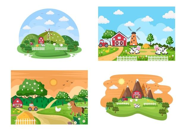 귀여운 만화 농장 동물