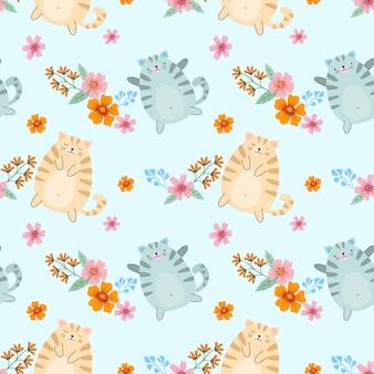 ファブリックテキスタイル壁紙のかわいい漫画デブ猫と花のシームレスパターン。