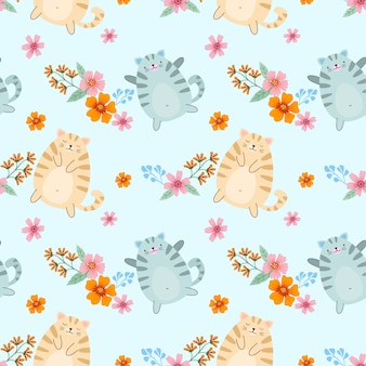 Cute cartoon fat cat and flowers seamless pattern for fabric textile wallpaper.