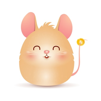 Cute cartoon fat little rat character design with chinese gold coin isolated on white background. year of the rat. zodiac rat. vector.