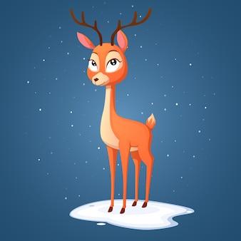 枝角を見てかわいい漫画の雌鹿