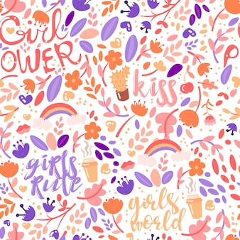 Cute cartoon feministic and floral seamless pattern with girl power and girls rules fashion elements.