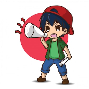 Cute cartoon film director., job concept.