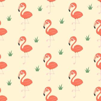 귀여운 만화 플라미고 새 원활한 패턴