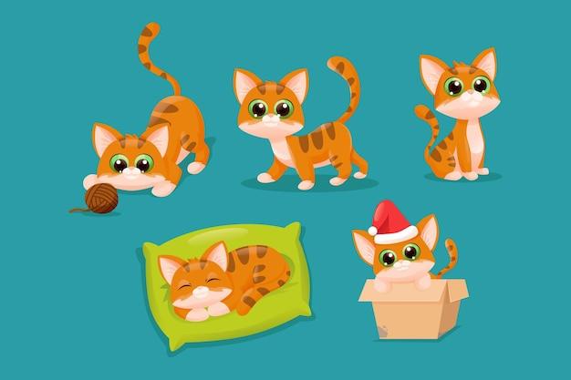 かわいい漫画フラット猫キャラクターコレクションセット 無料ベクター