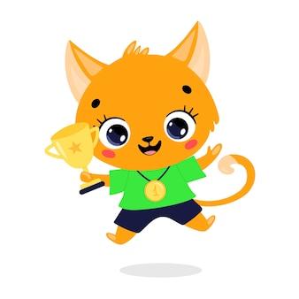 かわいい漫画のフラット落書き動物は、金メダルとカップで勝者をスポーツします。猫のスポーツの勝者