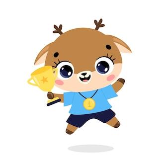 かわいい漫画のフラット落書き動物は、金メダルとカップで勝者をスポーツします。鹿のスポーツの勝者