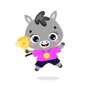 かわいい漫画のフラット落書き動物は、金メダルとカップで勝者をスポーツします。ロバの馬のスポーツの勝者