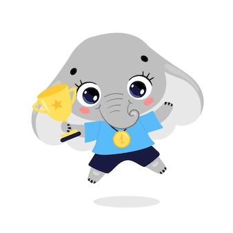 かわいい漫画のフラット落書き動物は、金メダルとカップで勝者をスポーツします。象のスポーツの勝者