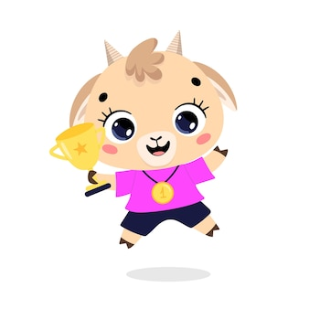 かわいい漫画のフラット落書き動物は、金メダルとカップで勝者をスポーツします。ヤギスポーツの勝者