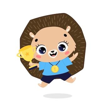 かわいい漫画のフラット落書き動物は、金メダルとカップで勝者をスポーツします。ハリネズミスポーツの勝者