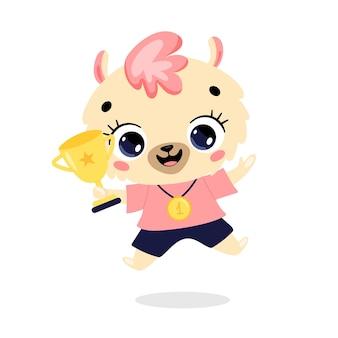 かわいい漫画のフラット落書き動物は、金メダルとカップで勝者をスポーツします。ラマスポーツの勝者