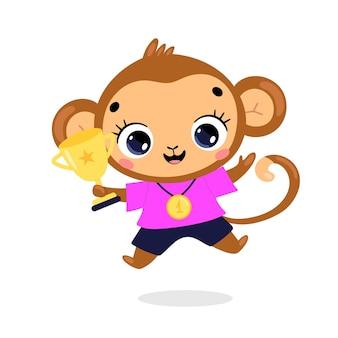 かわいい漫画のフラット落書き動物は、金メダルとカップで勝者をスポーツします。モンキースポーツの勝者