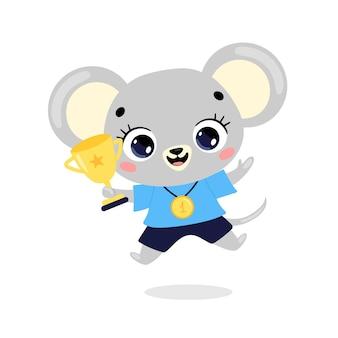 かわいい漫画のフラット落書き動物は、金メダルとカップで勝者をスポーツします。マウススポーツの勝者