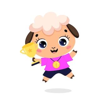 かわいい漫画のフラット落書き動物は、金メダルとカップで勝者をスポーツします。羊のスポーツの勝者