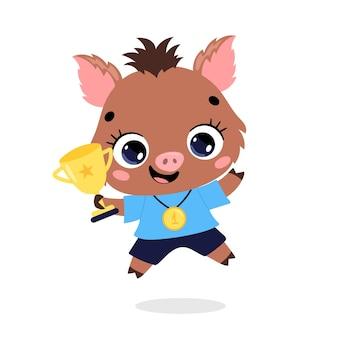 かわいい漫画のフラット落書き動物は、金メダルとカップで勝者をスポーツします。イノシシスポーツの勝者