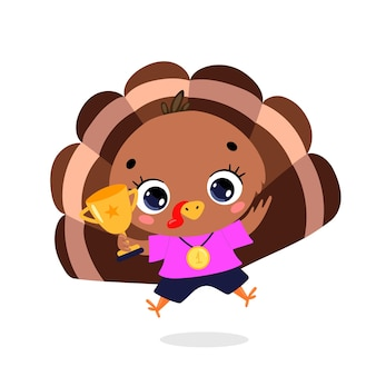 Cute cartoon flat doodle animals sport winners with gold medal and cup. turkey sport winner