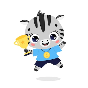 Cute cartoon flat doodle animals sport winners with gold medal and cup. zebra sport winner