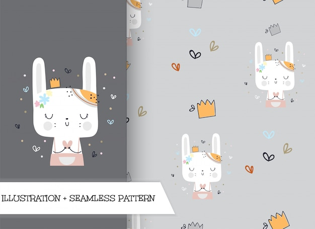 Cute cartoon flat illustration bunny with pattern