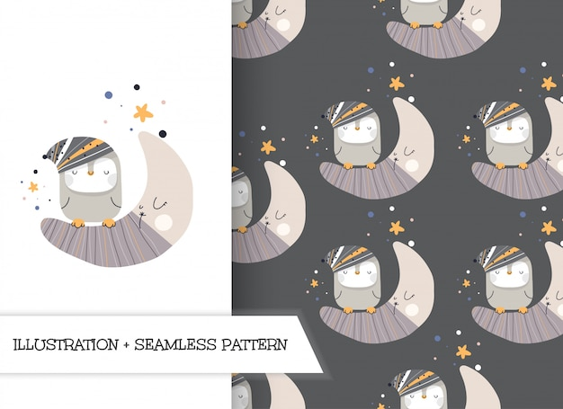 Cute cartoon flat illustration penguins with pattern