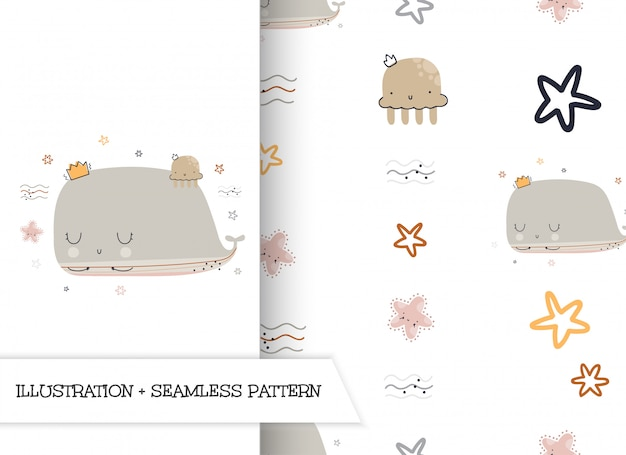 Cute cartoon flat illustration whale with pattern