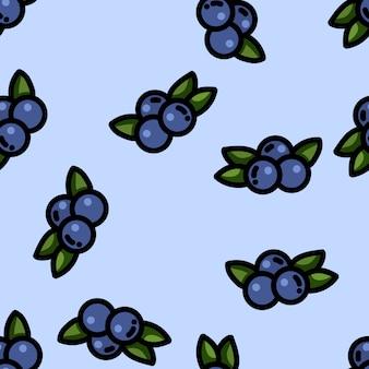 Cute cartoon flat style blueberry seamless pattern