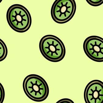 Cute cartoon flat style kiwi seamless pattern