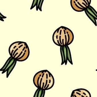 Cute cartoon flat style onion seamless pattern
