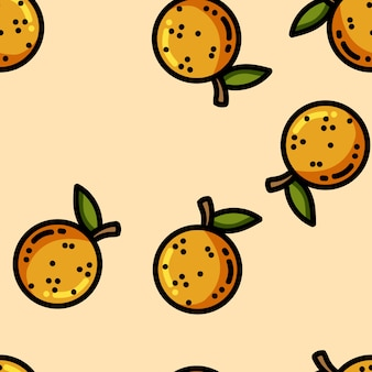 Cute cartoon flat style oranges seamless pattern