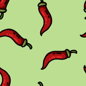 Cute cartoon flat style pepper seamless pattern