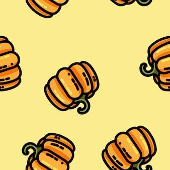 Cute cartoon flat style pumpkin seamless pattern
