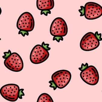 Cute cartoon flat style strawberry seamless pattern