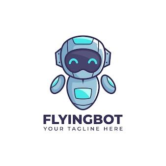 Cute cartoon flying float robot illustration bot mascot logo design
