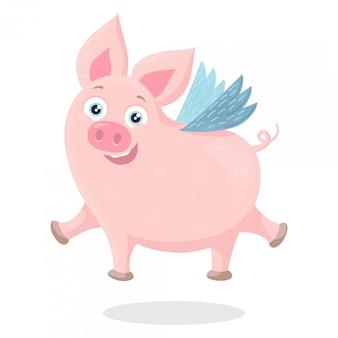 Милый мультфильм летающая свинья
