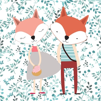 Cute cartoon fox couple in blue spring seamless leave