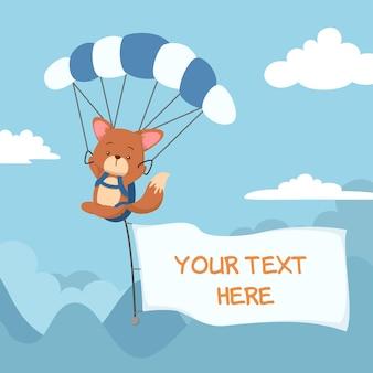 Cute cartoon fox flying with parachute and flag