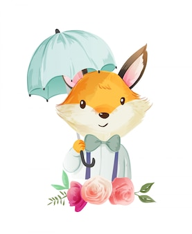 Cute cartoon fox holding umbralla illustration
