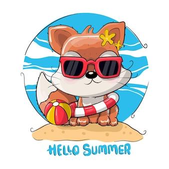 Милый мультфильм лиса в летнее время