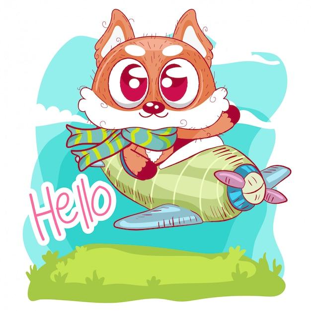 Cute cartoon fox is flying on a plane
