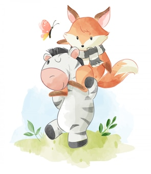 Cute cartoon fox riding on zebra illustration