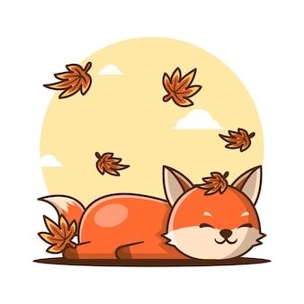 가을에 잠자는 귀여운 만화 여우